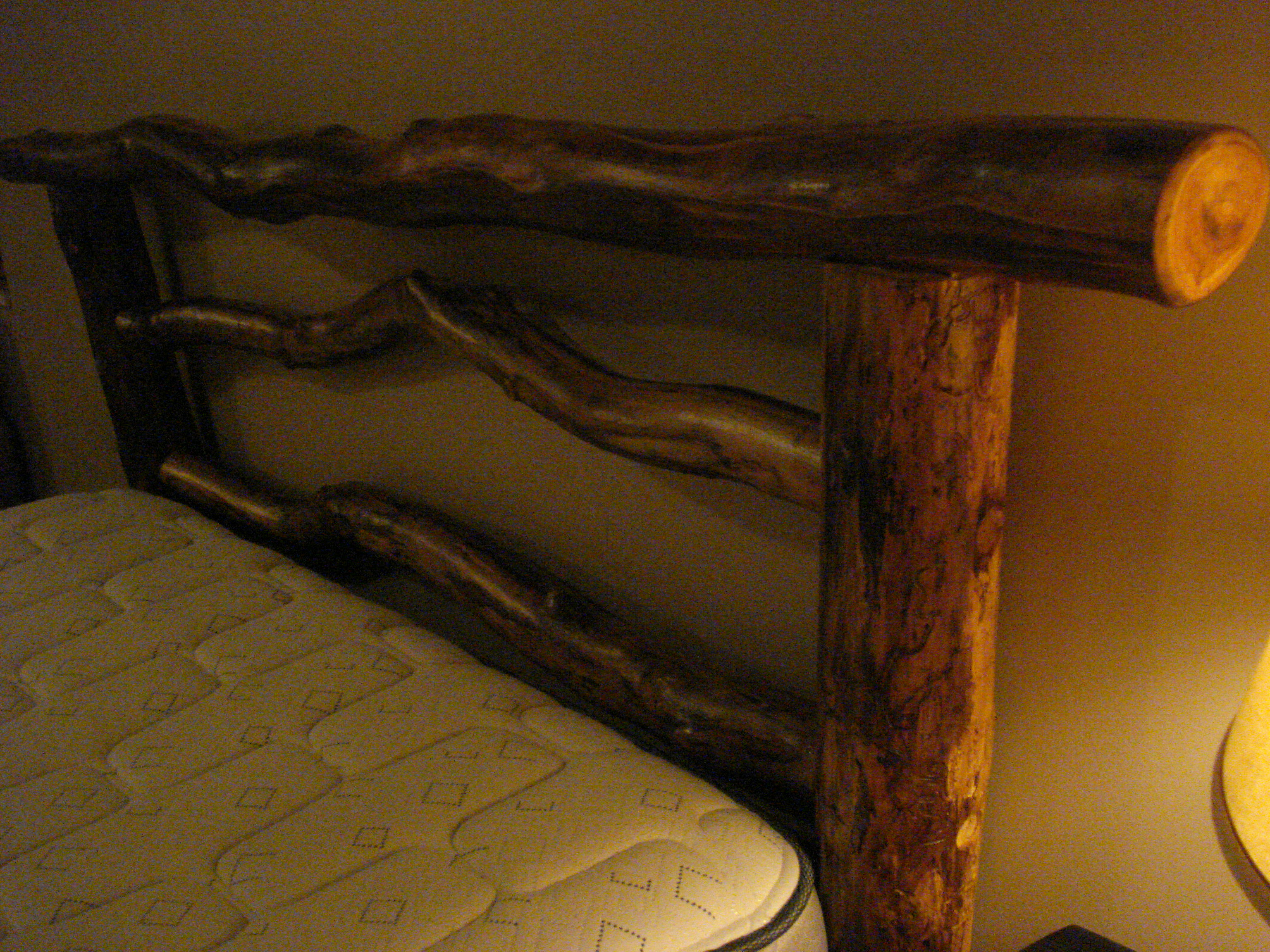 as frame pin bottom bed old and using log door hickory swing headboard pine made heart